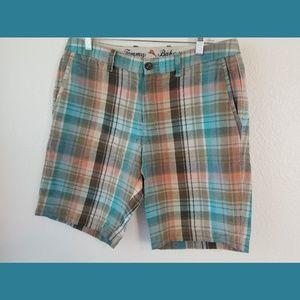 Tommy Bahama Plaid Linen Blend Shorts Sz 32